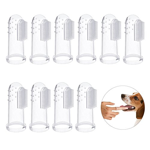 Bello Luna 10Pcs Hund Zahnbürsten, Pet Finger Zahnbürste Dentalhygiene Bürsten für Hund und Katze