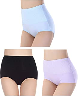 Femaroly Women's 3 Pack High Waist Solid Color Tummy Control Cotton Underpants Briefs (Love Yourself First)