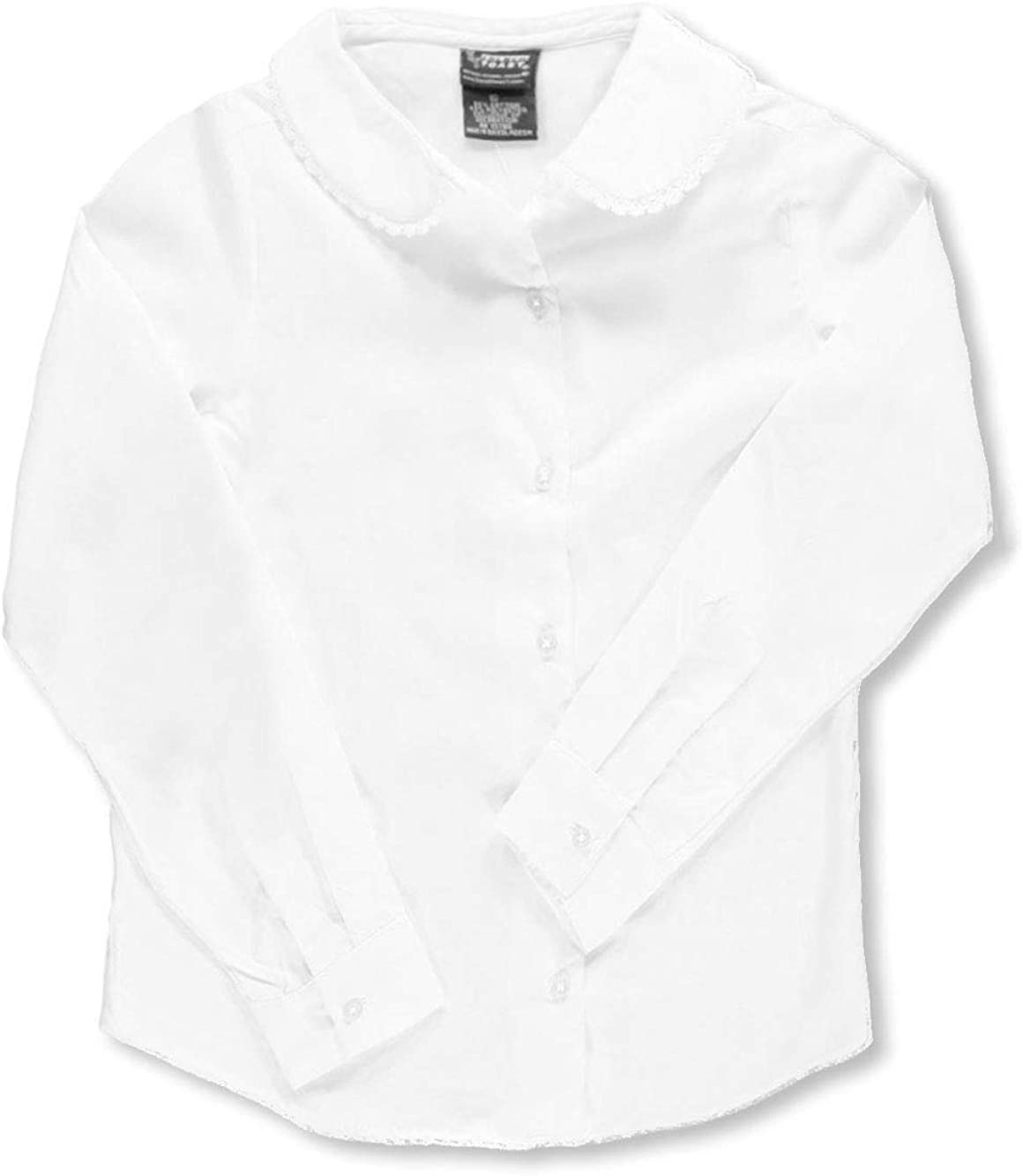 French Toast Big Girls' L/S Blouse with Lace Edging