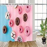 taquxinlaowan Cortina de Ducha de Chocolate Donut Decoración de baño Tela y 12 Ganchos 71x71inches
