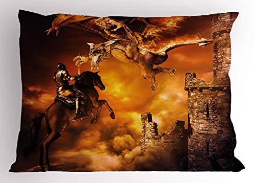 ABAKUHAUS Modern Siersloop voor kussen, Ridder op Paard, standaard maat bedrukte kussensloop, 65 x 50 cm, Black and Marigold