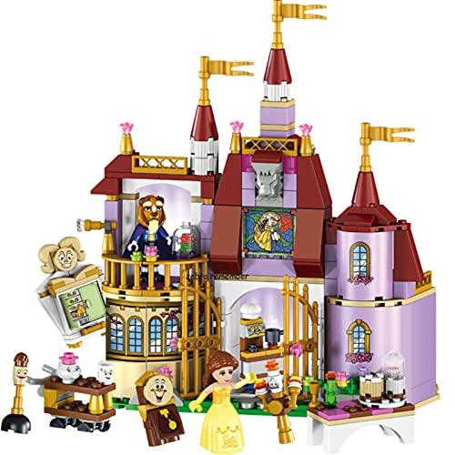 ASDFG Figuras de Princesa, Bloques de construcción de Castillo de Princesa Belle, Juego de Modelos compatibles, Juguetes para niñas