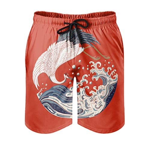 Ktewqmp Zomer zwembroek Japanse kraan en golven mannen zwembroek zwemmen shorts mannen met zakken oversized