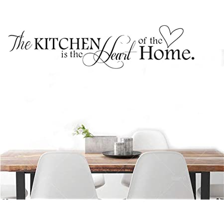 KITCHEN IS THE HEART OF THE HOME VINYL ART  LETTERING WORDS DECALS HOME DECOR