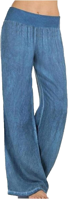 MIVAMIYA Women Palazzo Lounge Pants Wide Leg Denim Pants Elastic Waist Pajama Bottoms Baggy Pants Casual Jeans