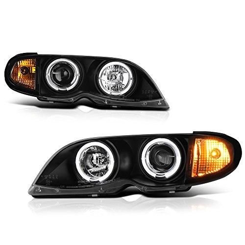 VIPMOTOZ LED Halo Ring Black Projector Headlight Headlamp Assembly For 2002-2005 BMW E46 Facelift 3-Series Sedan Wagon Halogen Model, Driver & Passenger Side