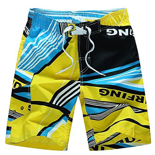 Katenyl Pantalones Cortos de Secado rápido con Cintura elástica para Hombre, Pantalones Cortos de Playa con Personalidad Informal de Gran tamaño y Bloqueo de Color de impresión Suelta a la Moda 4XL