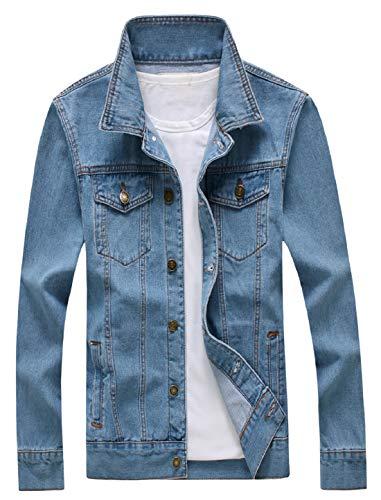 Olrek Men's Casual Wear Cotton Denim Jacket(Sky blue,L size)