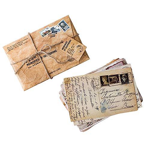 Cartoline in stile retrò, vintage, set di 30 diversi stili, perfette per feste di nozze o libro degli ospiti