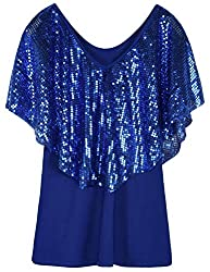 Blue Tunic Top Sequin Overlay Cold Shoulder