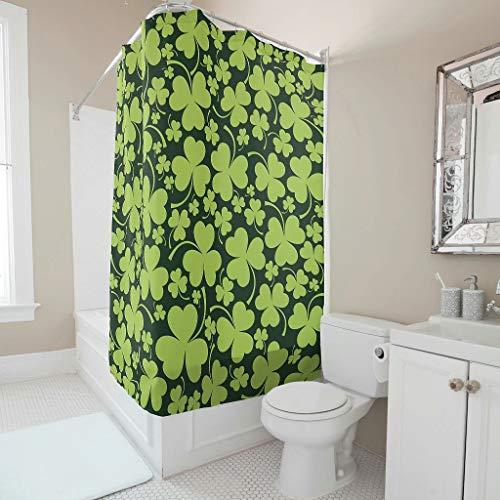 Cortina de ducha – Día de San Patricio impreso de primera clase lavable cortinas de bañera ganchos incluidos blanco 180 x 200 cm