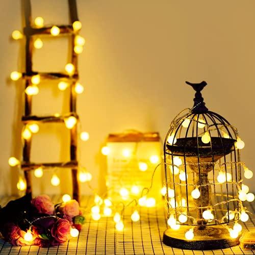 Guirnalda Luces, 5 metros con 40 bombillas, a prueba de agua, Bateria Cargada, luces decorativas de color blanco cálido, ideal para exteriores, interiores, jardines, casas, bodas, Navidad (2 modos)