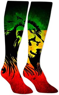 Jamaican Flag Doormats Lion Compression Socks Long Knee Stockings High Socks for Hiking Soccer Running