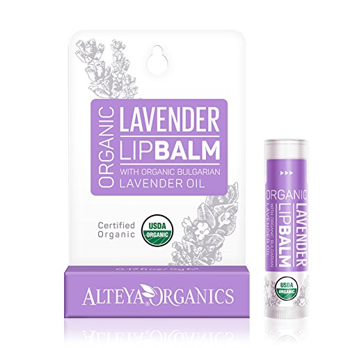 Alteya Organic Balsamo Labbra con oli essenziali di Lavanda Bulgara 5 g – USDA certificata organica bio naturale ristrutturativa cura labbra sotto la