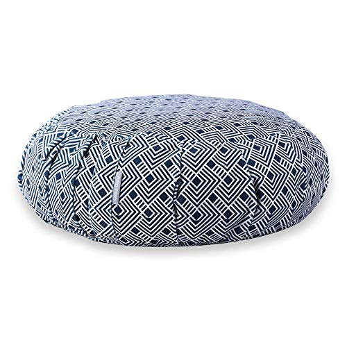 Celina Digby Designer Putuan Round Pleated Zafu Cushion for Zen Meditation & Yoga Grade A Velvet Cover + 100% Cotton Inner Generously Filled with Organic Buckwheat Hulls D 42cm/H 15cm(Japanese Tile)