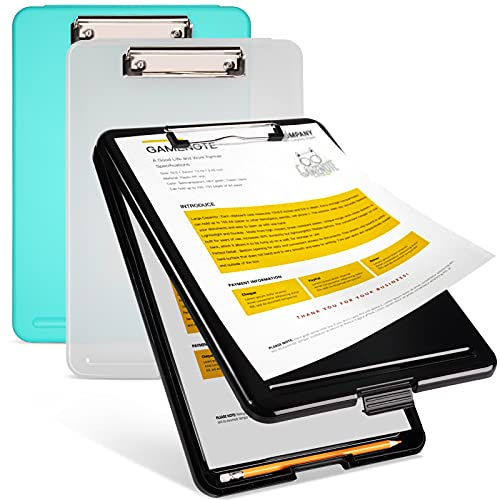 Gamenote Paquete de 3 Portapapeles Con Almacenamiento Portapapeles de Plástico Resistente A4 Tablero Enfermería Plegable for Classroom College Teacher Coach Jobsite