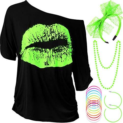 Blulu Damen 80 Jahre Kostüm Zubehör Set, Lippen Drucken T-Shirt Spitze Stirnband Ohrring Halsketten Armband für 80 Jahre Thema Party (Fluorescent Green, XL)