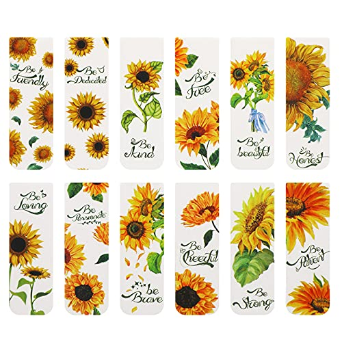 12 Pieces Sunflower Magnetic Bookmarks Inspirational Magnetic Bookmarks Magnet Page Markers Positive Magnetic Book Marker for Students Teachers School Home Office Supplies, 12 Styles