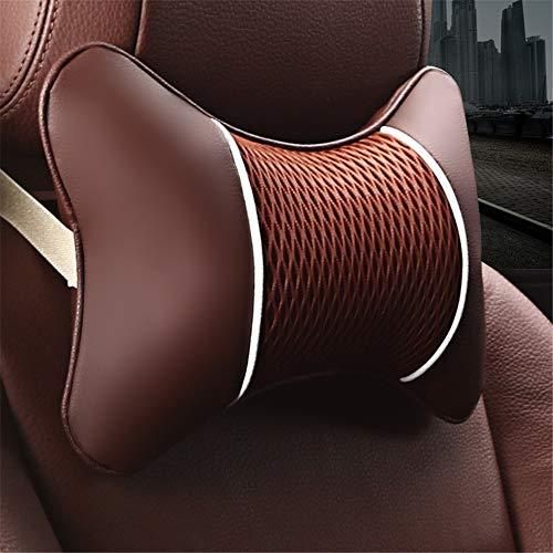 Yhjkvl Almohada de cuello de espuma viscoelástica para el cuello del coche, almohada de apoyo lumbar, para asiento trasero del coche, almohada de viaje (color: café)