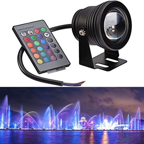 OSALADI Brunnen Pool Lampe LED Fernbedienung Licht Unterwasser Farbwechsel Aquarium Teich Lichter (Black Shell RGB) 10 Watt