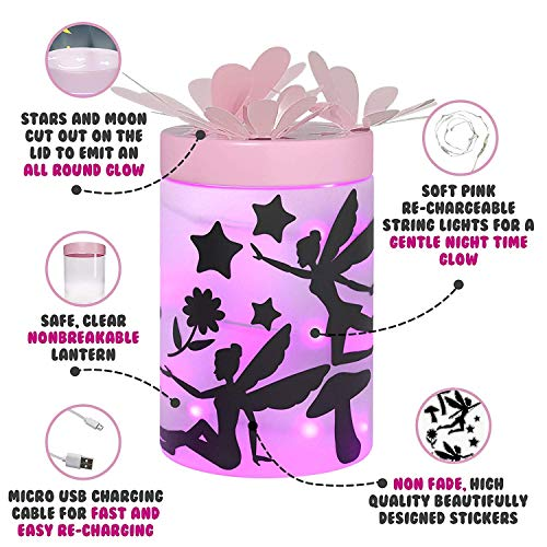 Fairy Garden Kits for Girls - Kids Night Light Lantern Jar - DIY Craft Toys for Ages 4-8