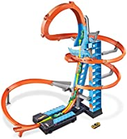 Hot Wheels Sky Crash Tower Track Set, Motorized Booster, Orange Track & 1 Hot Wheels Vehicle, Race Multiple Cars, Gift...