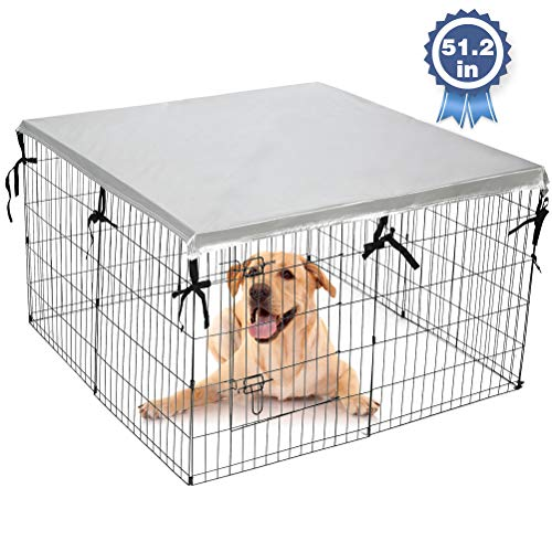 """EXPAWLORER Double Side Dog Playpen Cover- Sun-Proof & Water-Proof Top Kennel Cover for Outdoor and Indoor Fits 24"""" Crate with 8 Panel or 51.2"""" Crate with 4 Panel Covers Kennel"""