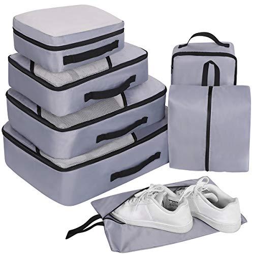 Packing Cubes Set 7-teilig, Faxsthy Packwürfel Packtaschen Kleidertaschen für Kleidung Unterwäsche Kosmetik Wasserdich für Reise Geschäftsreisen Urlaube und Wohnmobile (Grau 2)