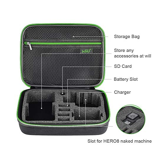 Middle Protective Carrying Case for GoPro Hero 9, 8, Hero(2018) Hero 7 Black, Hero 6,5, 4, LCD, Black, 3+, 3, 2 and… 5 CARRYING CASE FOR GOPRO CAMERA ACCESSORIES AND OTHER ACTION CAMERA:this carrying case is designed for gopro HERO 9, (2018), hero 7 black,hero 6,hero 5 black, gopro hero 4, gopro hero3, gopro hero3+, gopro hero 2, gopro HD, LCD,and other gadgets for the gopro camera KEEP YOUR MEMORIES SAFE AND SOUND USING ONE MEDIUM CASE - Our compact and easy to carry GoPro camera accessory gives you the opportunity to store your device in a safe and protective case, made to endure all the extreme action you put it through! MAKE SURE EVERYTHING YOU NEED IS AT YOUR FINGERTIPS - The incredible foam interior is specially designed to give you easy access to all the compartments. As a result, you will be able to find your accessories quickly when the action is heating up!