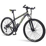 FANG Adulto Bicicleta Montaña, Ligero Cuadro Aluminio Ciclismo, 33 Velocidades Hombres Bicicleta de Montaña Hardtail, Profesional Bicicleta,Verde,29 Inch