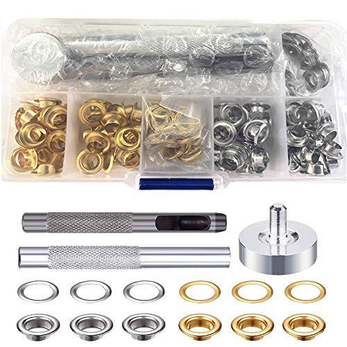 TAIANJI Kit Ojetes Metalicos 6 mm Ojetes Herramienta de Montaje de Arandela Ojales Inoxidable para Toldos Lonas Ojales Ropa DIY
