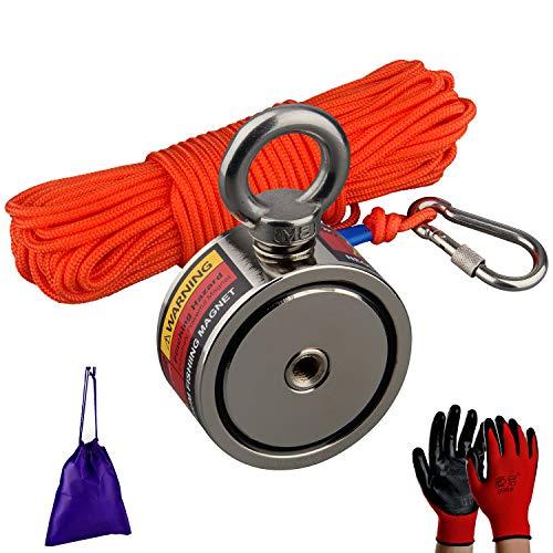 MUTUACTOR Combiné de puissants aimants de pêche avec une force de traction de 240 kg,un aimant de récupération en néodyme N52 avec une corde durable de 20 m,pour la pêche et la récupération magnétique
