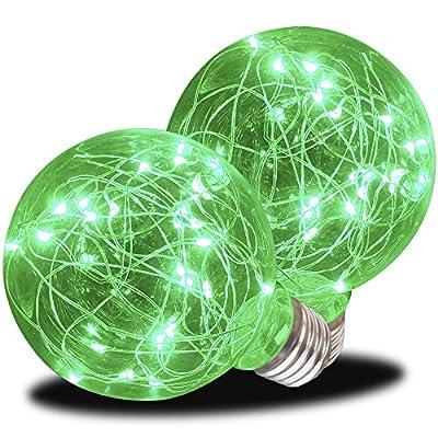 AmeriLuck LED G25 Globe Glass Fairy Light Bulb, Starry Fun Lighting, Festive Ambience Nightlight, Waterproof for Outdoor Use, Static Green 2 Pack