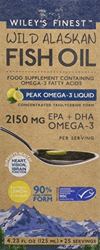 Wiley's Finest Peak Omega-3 Liquid 2150mg EPA + DHA Omega-3 Natural Wild Alaskan Fish Oil Food Supplement 25 Servings Lemon Flavour