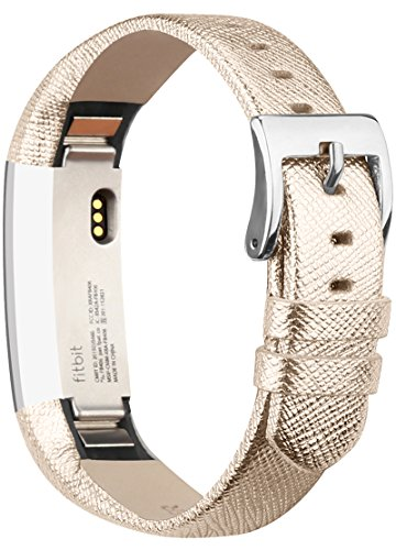 Vancle Cinturino per Fitbit Alta, Fasce in Cuoio di Sostituzione Fitbit Alta comoda e regolabile, Fasce di Sostituzione con Fibbia in Acciao Inox (Senza Alcun Inseguitore) (Gold)