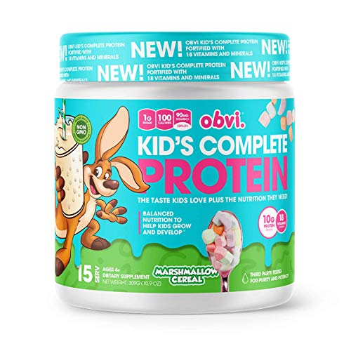Obvi Kid's Complete Protein, High Protein, Gluten Free, Non GMO, 18 Vitamins & Minerals, Made in USA (Marshmallow Cereal)