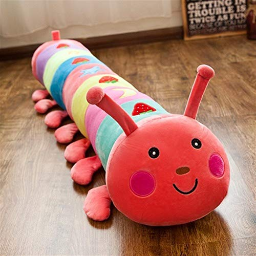Yuhualiyi123 Caterpillar Colorido Juguete de Felpa Dormir Largo Almohada muñeca Ragdoll Niño Femenino del Regalo de cumpleaños 50/65/90/110 / 130cm (Color : Pink, Size : 130cm)