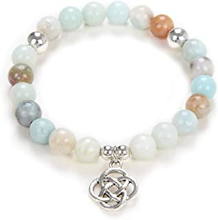 Self-Discovery Yoga Beads Mala Bracelet Jewelry with Infinity Knot Celtic Charm for Men or Women