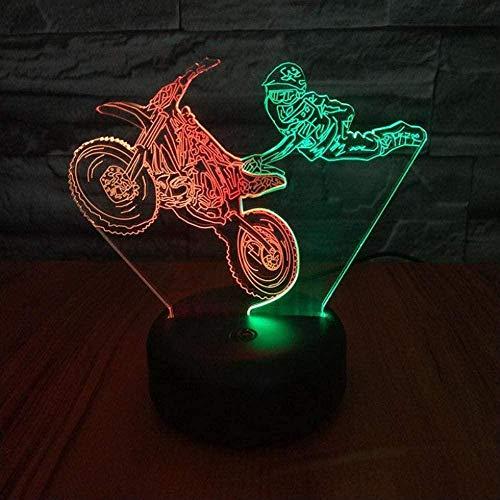 3D Illusie lamp Motorfiets Vliegende Nachtlampje Geschikt voor Kinderen Familie Vrienden Verjaardag Valentine USB 7 Kleuren (Afstandsbediening)