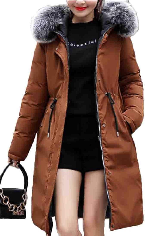 Desolateness Coat Winter Puffer Long Coat Women's Warm Faux Fur Hood Down Jackets