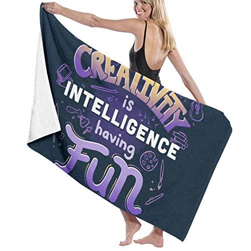Olie Cam La Creatividad es Inteligencia Divirtiéndose Toallas de baño Toalla de Ducha de Moda Toalla de Playa con Personalidad Toalla de natación Secado Suave y rápido