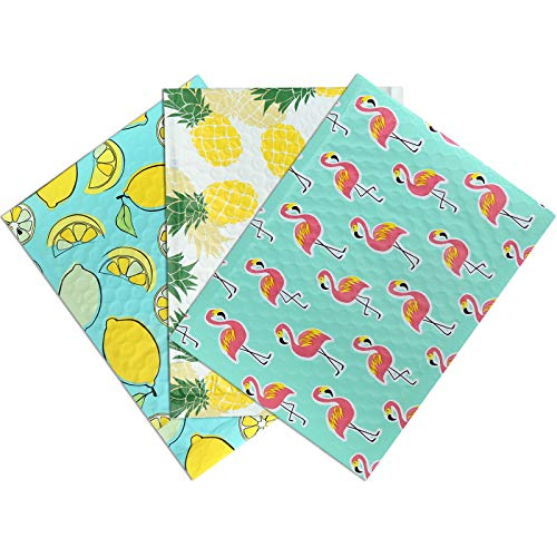 UCGOU 4x8 Inches Mixed Pattern Designer Poly Bubble Mailers Padded Envelopes Shipping Bags 48 Pcs Total - 16 Pcs Each of 3 Different StylesLemon, Flamingo, Pineapple)