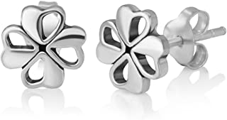 Sterling Silver Tiny Little Irish Four (4) Leaf Leaves Clover 8 mm Post Stud Earrings Lucky Jewelry