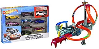 Hot Wheels 9-Car Gift Pack (Styles May Vary) AND Hot Wheels Spin Storm Track Set [Amazon Exclusive]