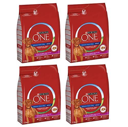 Purina One Medium/Maxi > 10 kg Crocchette Cane Adult Ricco in Manzo con Riso, 4 Sacchi da 2.5 kg Ciascuno