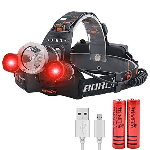 Linterna Frontal LED, Linterna Cabeza de Luz Roja Recargable, 3 Modos de Iluminación, Lámpara de Cabeza Blanca Roja LED para Camping, Observación Nocturna, Caza, Aviación (Baterías Incluidas)