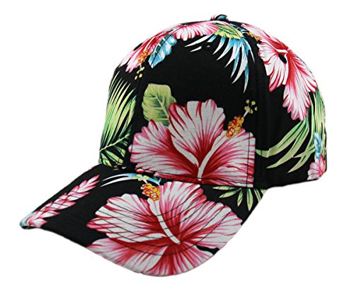 Floral Hawaiian Adjustable Snapback Hats Baseball Caps (Back/Curve)