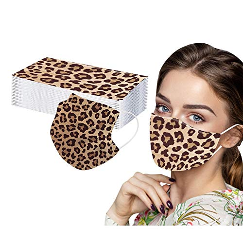 50PCS Women Leopard Print Disposable 3 Layer Face Mask Fashion Design Print Dust Windproof for Adult Full Face Protection (Brown)