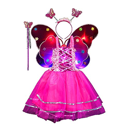Fairy Costume Set 4pcs,Girls Dress Up Princess Dress, Butterfly Wings, Wand and Headband for Children Ages 3-8 (Rose-LED light)