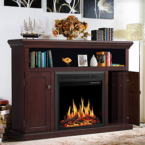 """JAMFLY Electric Fireplace TV Stand Wood Mantel for TV Up to 55"""", Media Entertainment Center Fireplace Console Cabinet w/LED Flames, Storage Bin, Touch Screen,Remote Control, 750W-1500W, Dark Espresso"""